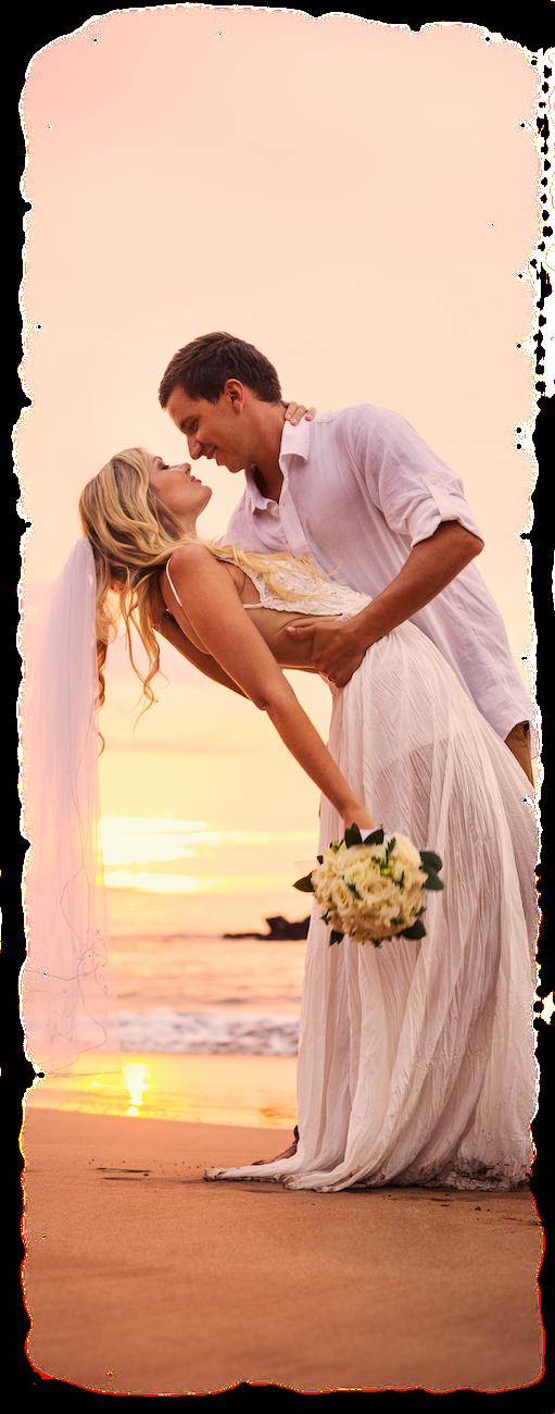trouwen aan strand zee